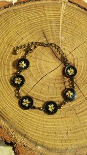 Bracciale in resina con fiori veri, gioielli con fiori secchi, idee regalo per lei, regalo compleanno o Natale