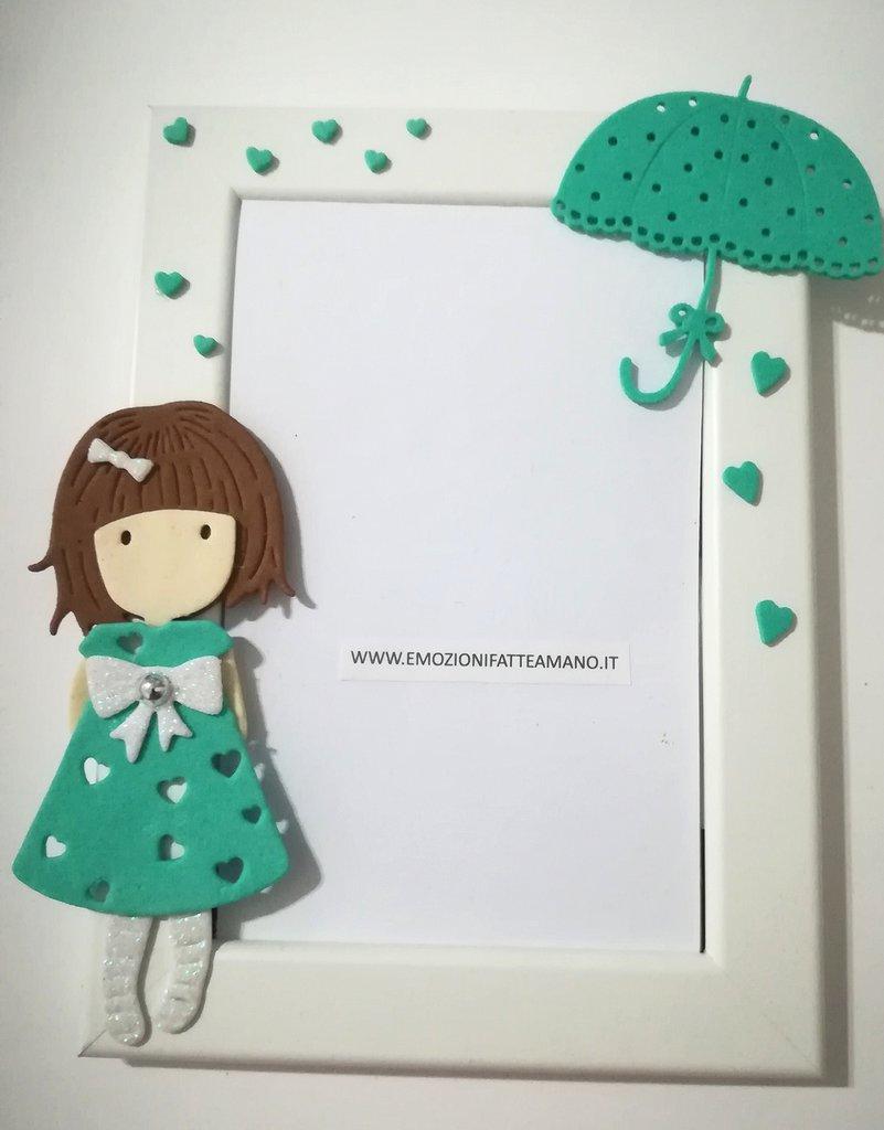 Portafoto bimba Personalizzabile con nome. Bambolina Tiffany Cornice legno