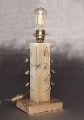 ABAT JOUR legno e fiori di vetro - portalampada - lampadina vintage tungsteno