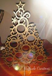 Albero di Natale stilizzato, da appoggio, in legno compensato taglio laser