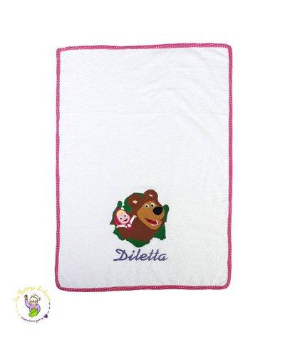 Asciugamano in spugna di cotone color bianco, con ricamo Masha & Orso - 50x30 cm