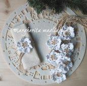 Legatovagliolo portatovagliolo allacciatovagliolo Natale - fatto a mano - stella di Natale uncinetto