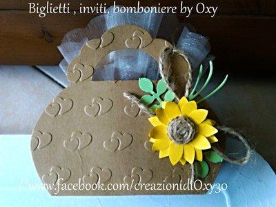 Scatolina portaconfetti - Borsetta  con girasole