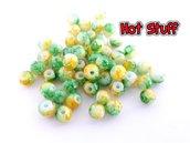 10 Perline di vetro - Fantasia di Verde/Giallo/Bianco (4mm)