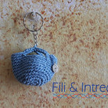 Portachiavi uncinetto a forma di borsina di cotone – fatto a mano