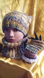 Cappello e scaldacollo con guanti