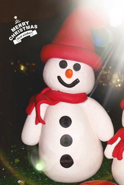 Segna posto/decorazione natalizia in fimo pupazzo di neve