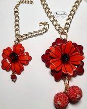Parure fiori rossi