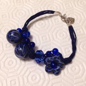 Bracciale blu con perle leopardate fatto a mano