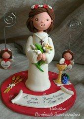 cake topper statuina comunione bimba