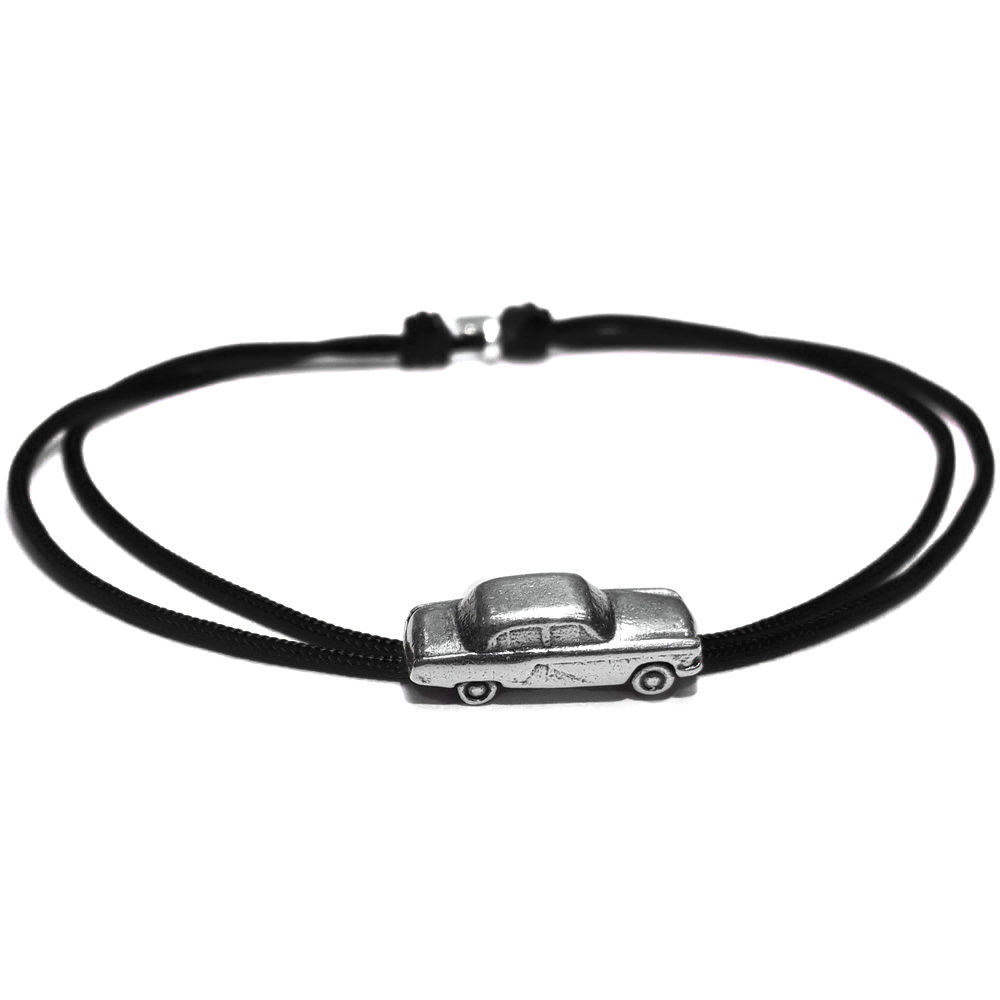 Bracciale di corda con pendente charm in argento auto Volga (Gas 21), fatto a mano