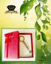 Portachiavi Color Oro e Verde con Maglie Bizantine e Pietra di Agata Verde