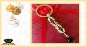 Portachiavi Color Oro e Nero con Maglie Bizantine in Alluminio e Pietra di Onice Sfaccettata