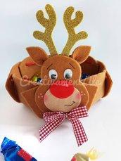 Natale - Cestino renna porta cioccolatini / svuota tasche in feltro