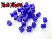 10 Perline vetro Cubo - Cobalt (4mm)