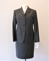 Completo donna giacca e gonna - Tailleur classico donna - Completo  donna - Completo grigio scuro -