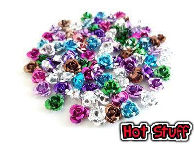 100 Perline di Rose in alluminio - Misto (6mm)