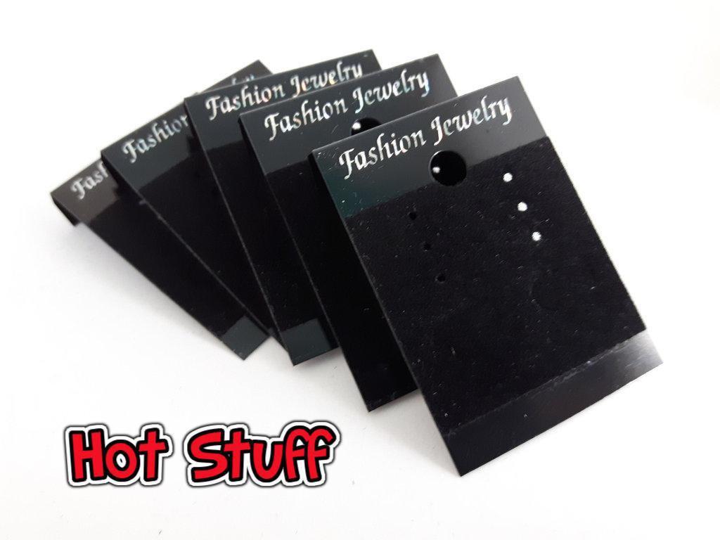 10 Carte di velluto per appendere orecchini - Nero (15x9mm)