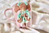 Tazza decorata in fimo bambolina doll