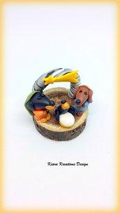 Presepe di cani bassotti in fimo su base in legno in miniatura, idea regalo natale per amanti dei cani