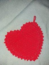 Presina  a forma di cuore di filato di cotone% cable' n. 5