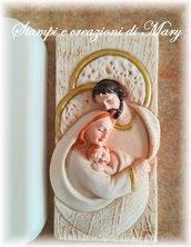 Stampo bassorilievo Sacra Famiglia in gomma siliconica da colata