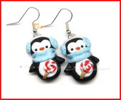 Orecchini a pinguino inverno idea regalo natale fimo Kawaii