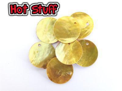 2 Ciondoli Conchiglia naturale - Giallo (18mm)