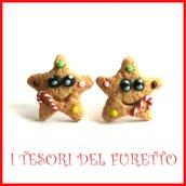 """Orecchini Lobo Perno Natale  Mod."""" Stella marzapane  biscotto gingerbread """" lobo idea regalo Bambina ragazza donna fimo cernit kawaii dolcetti"""