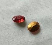Vintage 25x18mm Siam ovale vetro rosso pietra - Siam Ruby Red -