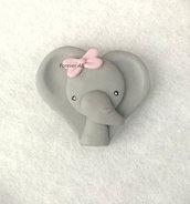 Elefante elefantina con fiocco rosa nascita battesimo compleanno bomboniere bomboniera