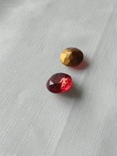 Light Siam Ruby 20 mm Vintage ttc sfaccettato vetro tondo