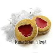 NATALE IN DOLCEZZE - Orecchini a biscotti con crema di vaniglia con glassa marmellata di fragole a forma di albero