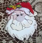 1 testa di babbo Natale di ceramica con elementi in rilievo, manufatto barba e cappello