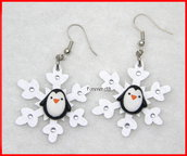 Orecchini pinguino su fiocco di neve idea regalo natale fimo Kawaii