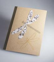 QUADERNO applicazioni raffinata carta di riso - illustrazione farfalla e libellula - carta di riso pregiata - notes - tempo libero