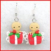 Natale 2018 Orecchini omino pan di zenzero in pacco regalo  fimo regalo natalizi kawaii