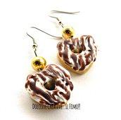 Orecchini Donut - Ciambelle a forma di cuore con glassa vaniglia e cioccolato - miniature handmade kawaii