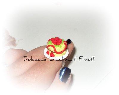 Anello Torta con nutella e rose rosse - COLLEZIONE SAN VALENTINO idea regalo in fimo e cernit
