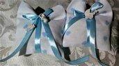 20 Sacchetti bomboniera con cuoricini azzurri per nascita,battesimo ed altre ricorrenze