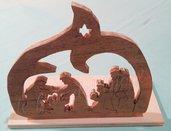 Natività in legno realizzata a traforo