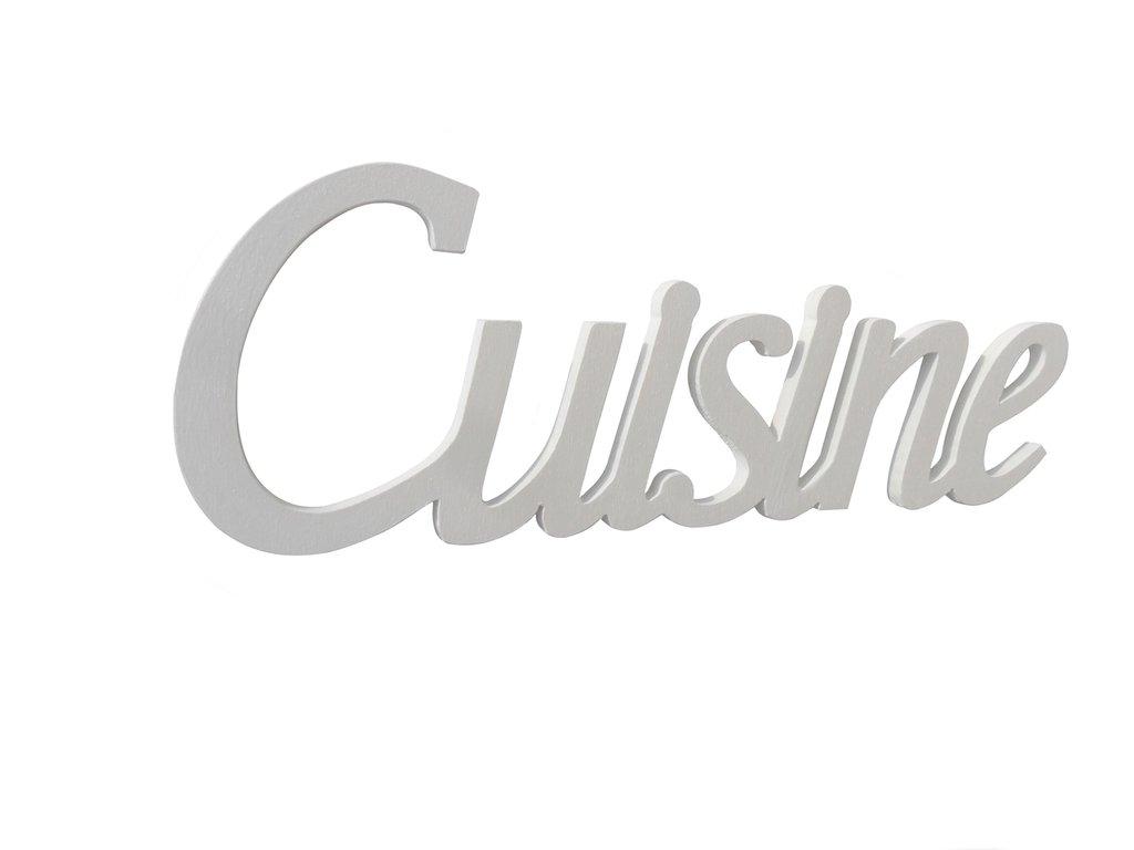 Scritta in legno Cuisine bianca