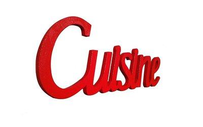 Scritta in legno Cuisine cm L 32x 12 h spessore 8 mm rossa