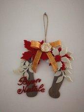 Staffa di cavallo in legno decorazione natalizia