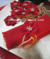 Legatovagliolo Stella di Natale rossa uncinetto - portatovagliolo allacciatovagliolo fatto a mano