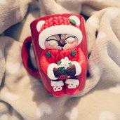 Tazza con gufetto di Natale in fimo