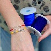 Bracciale di corda con pendente charm in argento Spilla, fatto a mano