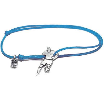 Bracciale di corda con pendente charm in argento Calciatore, fatto a mano