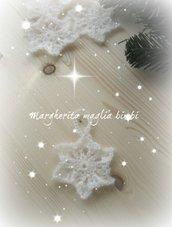 Fiocco di neve uncinetto - decorazione addobbo albero di Natale - fatto a mano