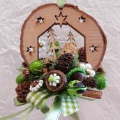 Renne e Alberello Decorazione per albero in legno
